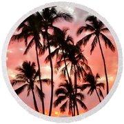 Peachy Palms Round Beach Towel