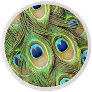Living Peacock Abstract Round Beach Towel