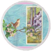 Peacock And Cherry Blossom With Wren Round Beach Towel