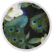 Peacock And Magnolia II Round Beach Towel