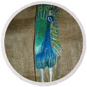Peacock Round Beach Towel
