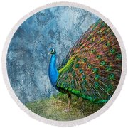 Peacock Beautiful  Round Beach Towel