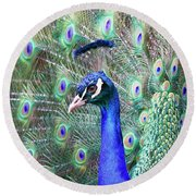 Peacock Bloom Round Beach Towel