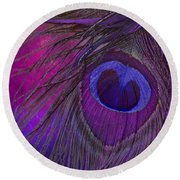 Peacock Candy Purple  Round Beach Towel
