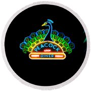 Peacock Diner In The Loop Round Beach Towel