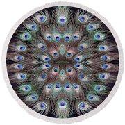 Peacock Eye Kaleidoscope Round Beach Towel