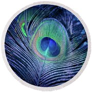 Round Beach Towel featuring the photograph Peacock Feather Blush by Sharon Mau