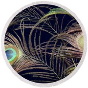 Peacock Feathers -1 Round Beach Towel