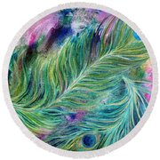 Peacock Feathers Bright Round Beach Towel by Denise Hoag