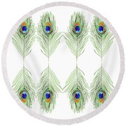 Peacock Feathers Round Beach Towel by D Renee Wilson