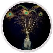 Peacock Feathers In Vase Round Beach Towel