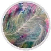Peacock Feathers Pastel Round Beach Towel by Denise Hoag
