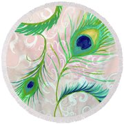 Round Beach Towel featuring the painting Peacock Feathers by Robin Maria Pedrero