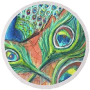 Round Beach Towel featuring the painting Peacock Feathers by TM Gand