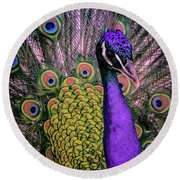 Peacock In Purple 2 Round Beach Towel