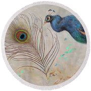 Round Beach Towel featuring the painting Peacock In Three Views by Nancy Lee Moran