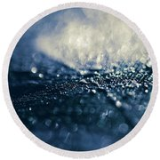 Round Beach Towel featuring the photograph Peacock Macro Feather And Waterdrops by Sharon Mau