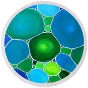 Peacock Pebbles  Round Beach Towel