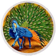 Peacock Pegasus Round Beach Towel
