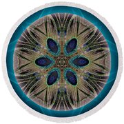 Peacock Power Round Beach Towel