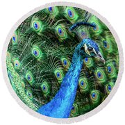 Round Beach Towel featuring the photograph Peacock by Steven Sparks