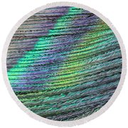 Peacock Stripes Round Beach Towel