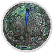 Peacock Swirl #2 Round Beach Towel