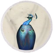 Peacock Vase Round Beach Towel