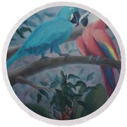 Peacocks In The Jungle Round Beach Towel