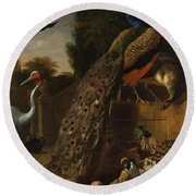 Round Beach Towel featuring the painting Peacocks by Melchior d'Hondecoeter