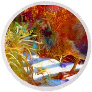 Peahen Eating Winter Garden Kale Round Beach Towel by Anastasia Savage Ealy