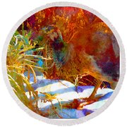 Peahen In Winter Garden I Round Beach Towel by Anastasia Savage Ealy