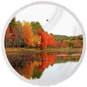 Peak New England Foliage Round Beach Towel