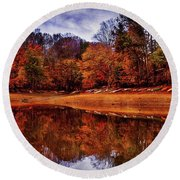 Round Beach Towel featuring the photograph Peak? Nope, Not Yet by Edward Kreis