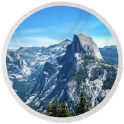Round Beach Towel featuring the photograph Peak Of Half Dome- by JD Mims