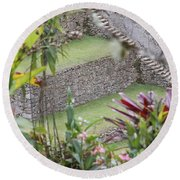Peeking In At Machu Picchu Round Beach Towel