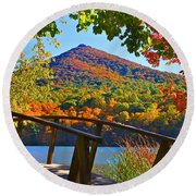 Peaks Of Otter Bridge Round Beach Towel