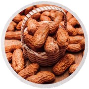 Peanuts In Tiny Basket In Close-up Round Beach Towel