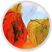Pear And Apple Watercolor Round Beach Towel