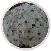 Pear Blossoms Round Beach Towel