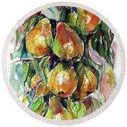Round Beach Towel featuring the painting Pear by Kovacs Anna Brigitta