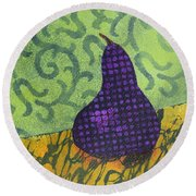 Round Beach Towel featuring the painting Pear Patterns by Nancy Jolley