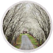 Round Beach Towel featuring the photograph Pear Tree Lane by Benanne Stiens