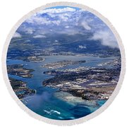 Pearl Harbor Aerial View Round Beach Towel