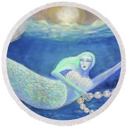Pearl Of The Sea Round Beach Towel