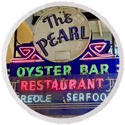 Pearl Oyster Bar Round Beach Towel