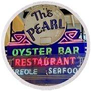 Pearl Oyster Bar Round Beach Towel