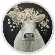 Pearlette The Cow Round Beach Towel