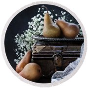 Pears And Baby's Breath Round Beach Towel by Stephanie Frey