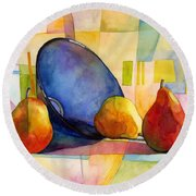 Pears And Blue Bowl Round Beach Towel